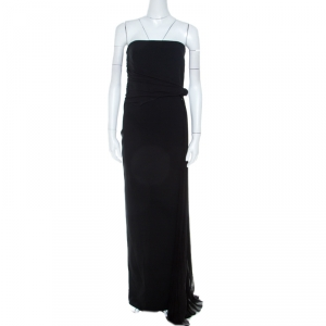 Max Mara Black Crepe Knit Pleated Tie Detail Strapless Nicchia Gown L