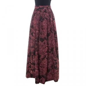 Max Mara Burgundy Printed Silk Pleated Maxi Skirt XS