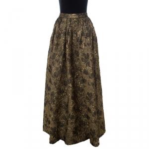 Max Mara Gold Floral Brocade Pleated Maxi Skirt M