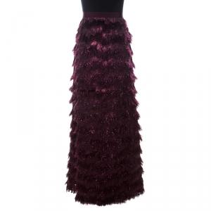 Max Mara Burgundy Metallic Jacquard Faux Feather Fringed Maxi Skirt S