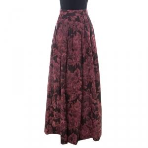 Max Mara Burgundy Printed Silk Maxi Skirt L