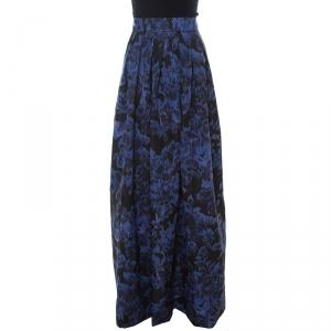 Max Mara Blue Printed Silk Maxi Skirt M