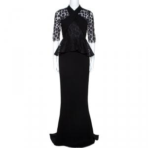 Max Mara Black Crepe Lace Trim Peplum Maxi Dress S