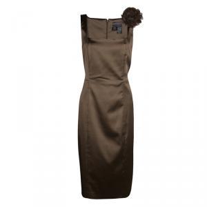 Max Mara Brown Satin Flower Detail Sleeveless Sheath Dress L