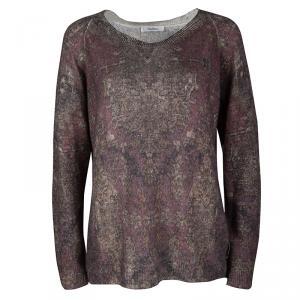 Max Mara Multicolor Floral Pattern Rib Trim Cashmere Sweater M