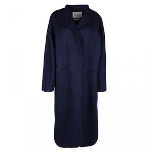 Max Mara Blue Cashmere Open Front Overcoat L