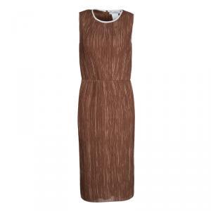 Max Mara Brown Plisse Belted Sleeveless Dress S