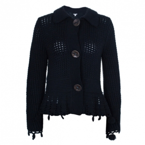 Max Mara Black Crochet Knit Cardigan L