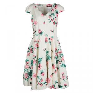 Max Mara Studio Cream Floral Printed Cotton Cap Sleeve Midi Dress L