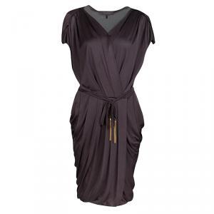 Max Mara Purple Draped Tie Detail Dress.M