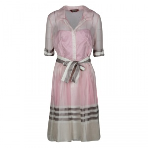 Max Mara Pink and White Striped Pleat Detail Belted Organza Dress M