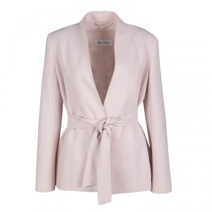 Max Mara Blush Pink Wool Wrap Front Belted Jacket S
