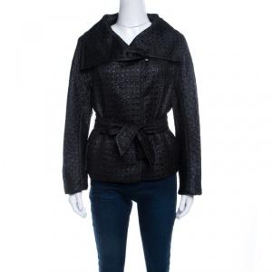 Max Mara Black Embossed Jacquard Houndstooth Pattern Belted Jacket L