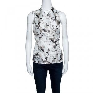 Max Mara White Printed Silk and Jersey Sleeveless Wrap Top M