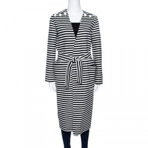 Max Mara Sfilata Monochrome Striped Wool And Angora-Belted Coat S