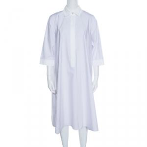 Max Mara White and Purple Striped Cotton Parola Shirt Dress M