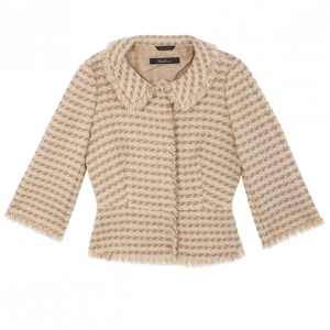Max Mara Beige Tweed Jacket M