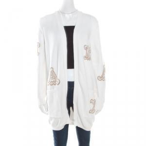 Max Mara White Cotton Knit Jacquard Monogram Detail Prince Cardigan M