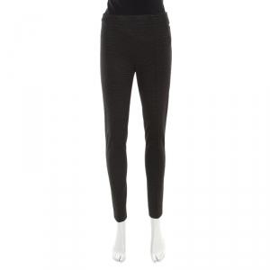 Max Mara Monochrome Dotted Jacquard High Waist Skinny Pants S