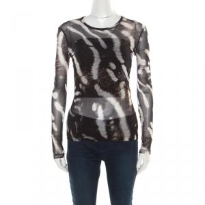 Max Mara Abstract Animal Print Nylon Jersey Long Sleeve Sheer Top S