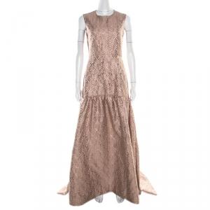 Max Mara Blush Pink Lurex Jacquard Patterned Sleeveless Gabriel Evening Gown S