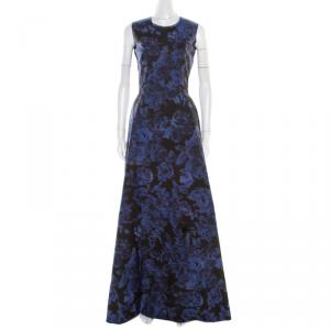 Max Mara Black and Blue Floral Printed Sleeveless Acinoso Gown S used