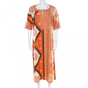 Max Mara Orange Paisley Printed Silk Maxi Kaftan M