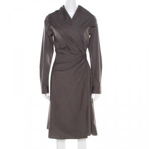 Max Mara Grey Cotton Stretch Faux Wrap Draped Blazer Dress M