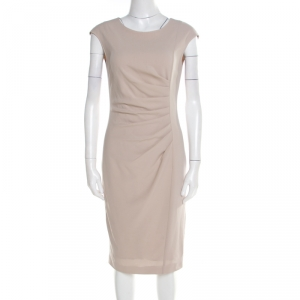 Max Mara Natural Beige Stretch Wool Sleeveless Ruched Canter Dress S