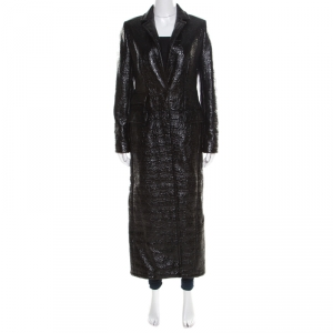 Max Mara Mid Black Crinkled Faux Patent Leather Plaid Lined Overcoat S