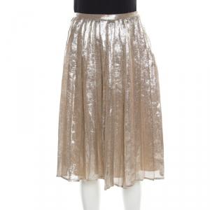 Max Mara Champagne Silver Pleated Silk and Lurex Faro Midi Skirt M