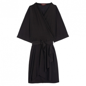 Max Mara Black Wrap Silk Dress L