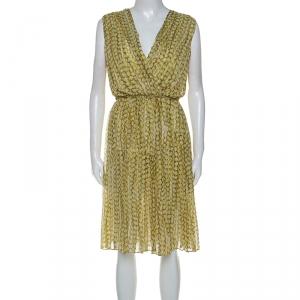 Max Mara Yellow Printed Silk Pleated Sleeveless Dress M - used