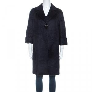 Max Mara Navy Blue Alpaca Coat S