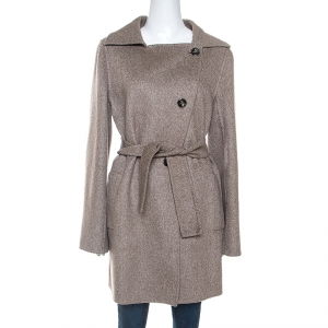 Max Mara Light Brown Cashmere Double Breasted Hand Cut Coat M