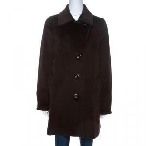 Max Mara Dark Brown Wool Long Coat M