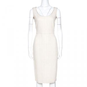 Max Mara Cream Cotton Tweed Lina Sheath Dress M