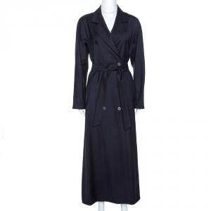 Max Mara Navy Blue Virgin Wool Belted Long Coat M