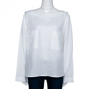 Max Mara White Linen Arabba Long Sleeve Blouse L