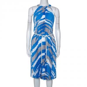 Max Mara Blue Plisse Belted Sleeveless Dress M - used