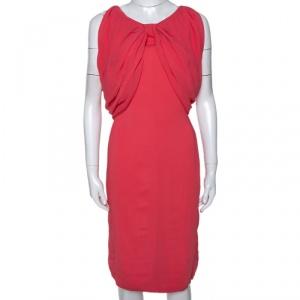 Max Mara Coral Pink Stretch Crepe Draped Sheath Dress L - used