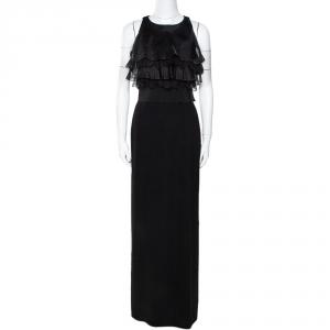 Max Mara Black Silk Lace Trim Sleeveless Maxi Dress S - used