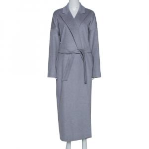 Max Mara Grey Cashmere Belted Long Coat L