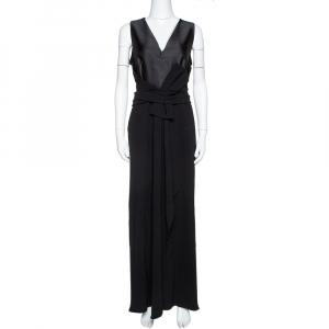Max Mara Black Satin & Crepe Bow Detail Sleeveless Maxi Dress L used