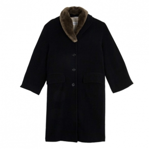 Max Mara Black Wool Coat with Fur Collar L