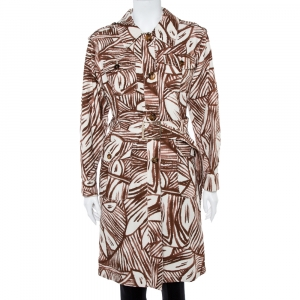 Max Mara White & Brown Printed Canvas Belted Coat M