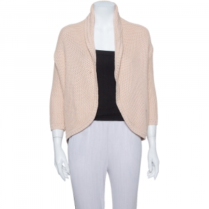 Max Mara Pink Open Knit Open Front Jacket S
