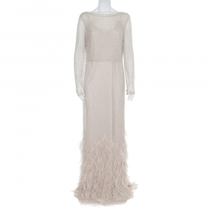 Max Mara Beige Tulle Sequin & Feather Embellished Gown M - used