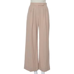 Max Mara Beige Wool Wide Leg Trousers S