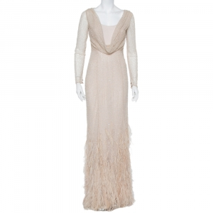 Max Mara Beige Tulle Sequin & Feather Embellished Gown S - used